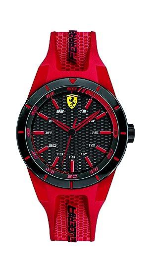 Ferrari 0840005 RedRev - Reloj analógico de pulsera para hombre (cuarzo, correa de silicona