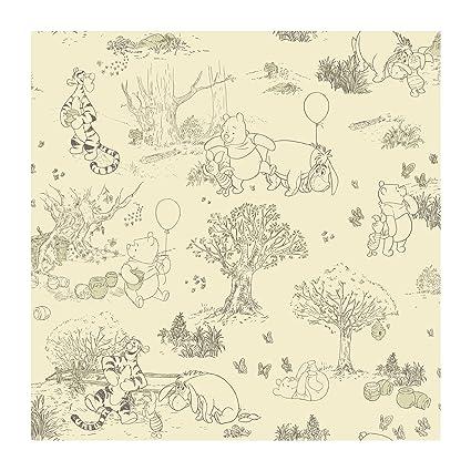 York Wallcoverings Dk5842smp Disney Kids Pooh Friends Toile Wallpaper Memo Sample 8 Inch X 10 Inch
