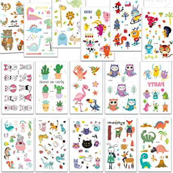 SZSMART Tatuajes Temporales para Niños Niñas, 16 Hojas Dibujos ...