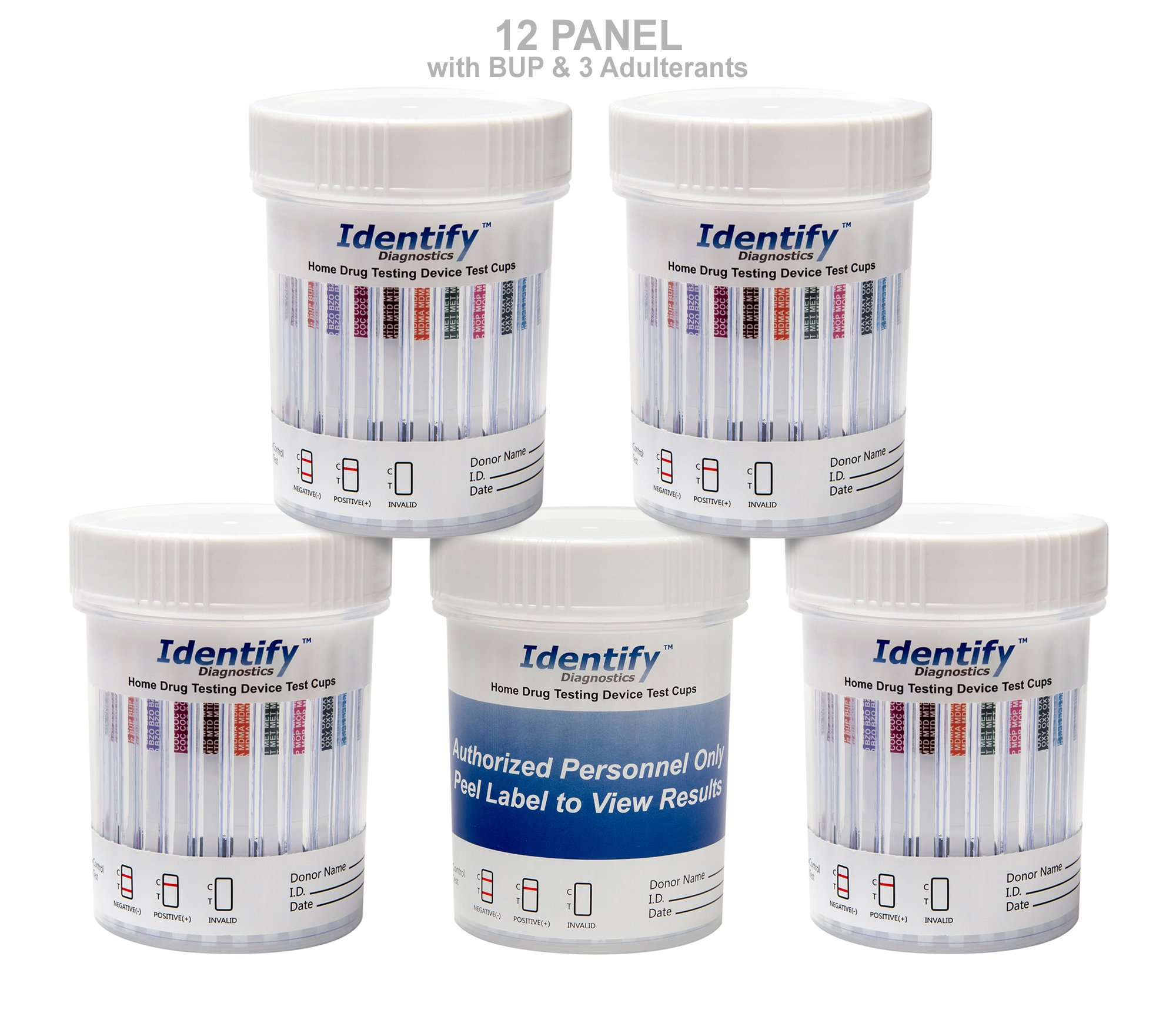 25 Pack Identify Diagnostics 12 Panel Drug Test Cup with 3 Adulterants PH, SG, CR - Testing Instantly for 12 Drugs: THC, COC, OXY, MDMA, BUP, MOP, AMP, BAR, BZO, MET, MTD, PCP #ID-CP12-BUP-ADULT
