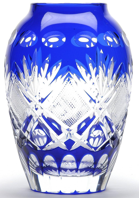 江戸切子 硝子工房彩鳳 剣菱魚子文様 壷型花瓶 ルリ M-9315 B005MLVVSW