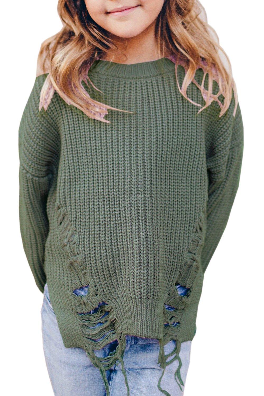 Huiyuzhi Girls O Neck Fall Sweaters Pullover Cute Hollow Hole Sweater Tops