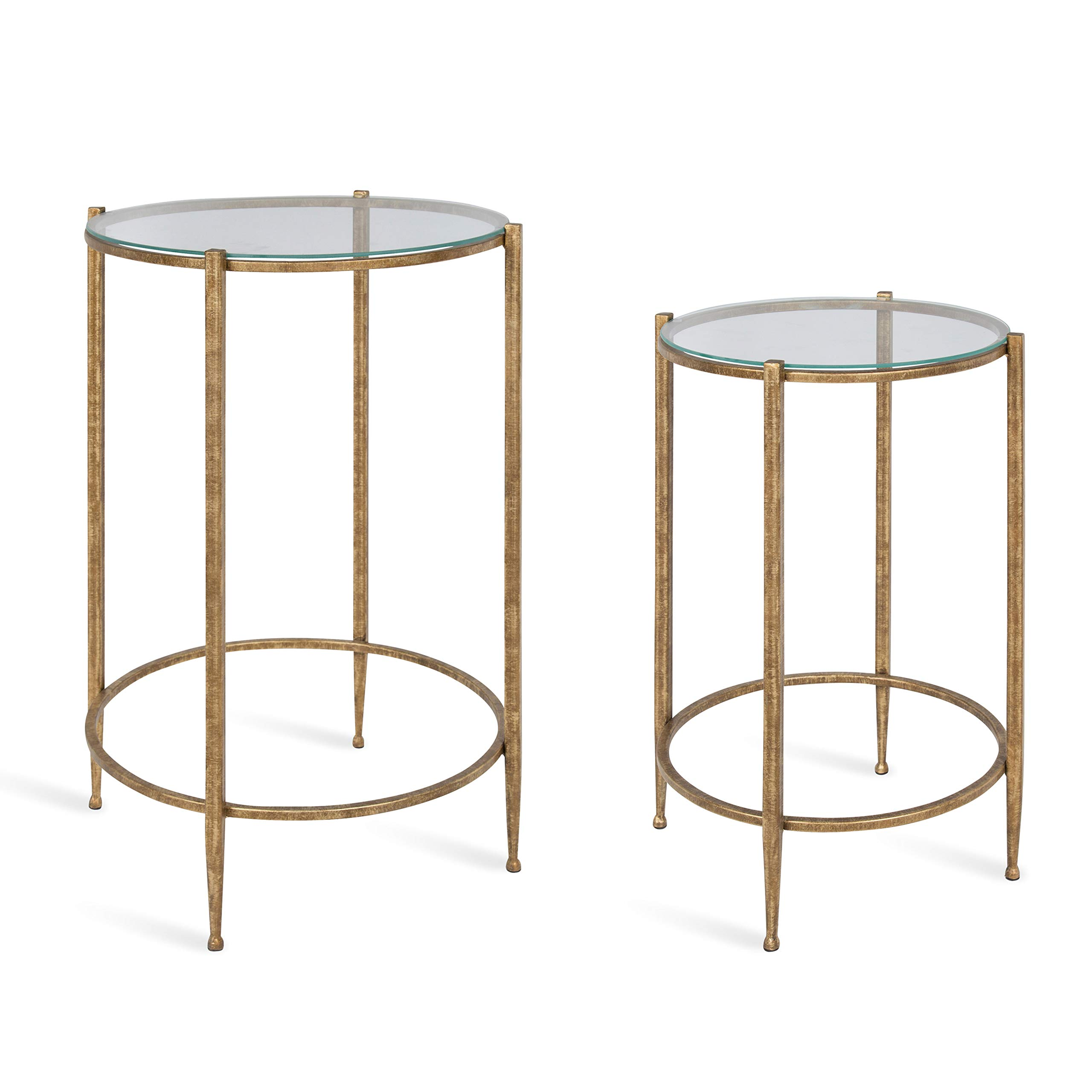 Kate and Laurel Solange Metal and Glass Nesting Tables, Set of 2, Gold by Kate and Laurel