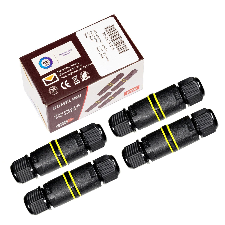 connecteur de câble étanche d'extérieur Boîte de jonction 4-Pack Someline IP68connecteur externe Sleeve Coupler Ø 4–9mm