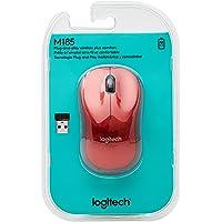 Logitech - M185 - Mouse Inalámbrico Ambidiestro - Rojo