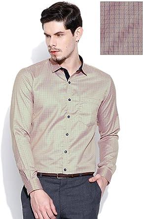 Hombres Beige Tela Mixta Chequeado Formal Camisa de Mangas ...