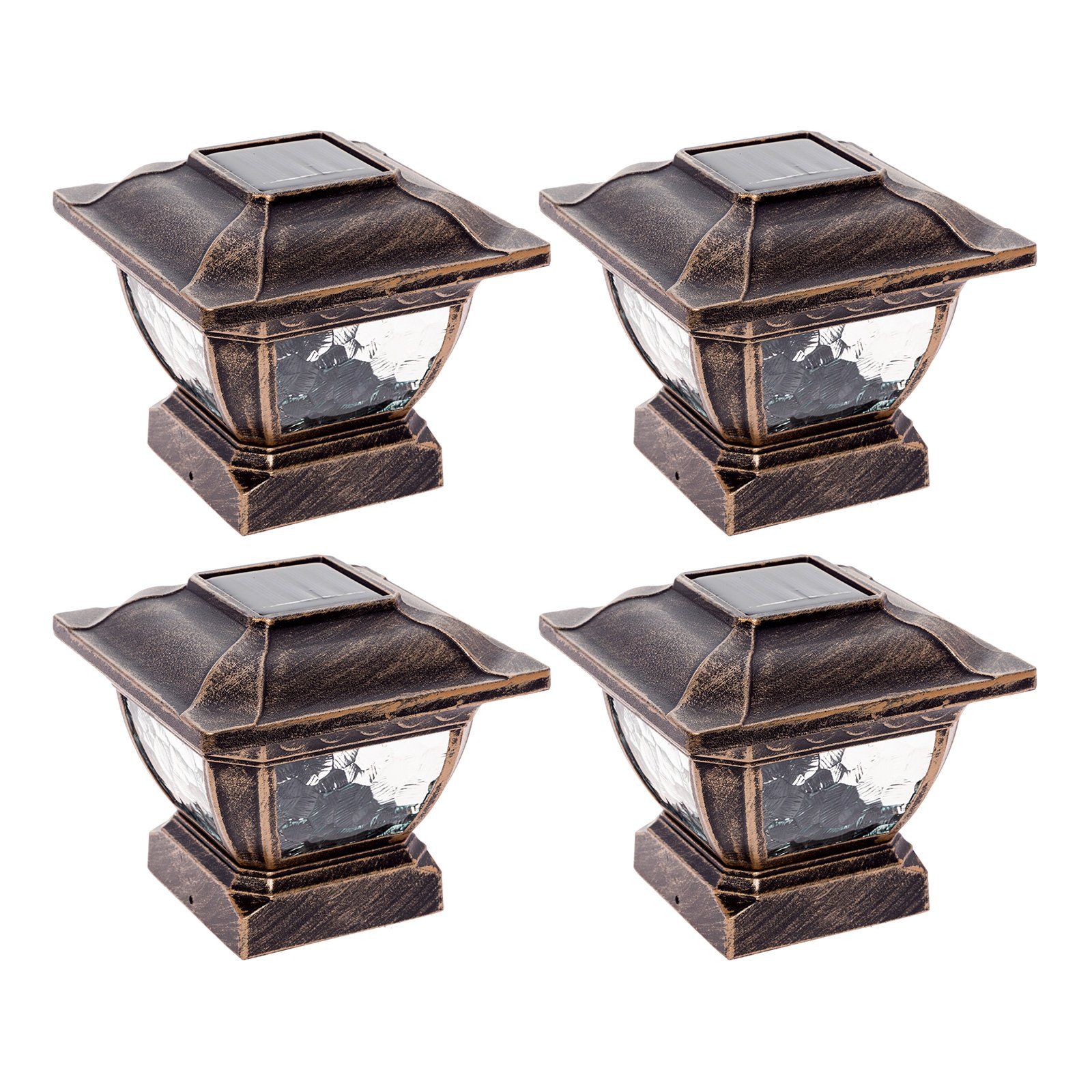 Paradise GL28998BZ Solar Cast Aluminum LED Post Cap Light for 4x4 Wood Posts (Bronze, 4 Pack)
