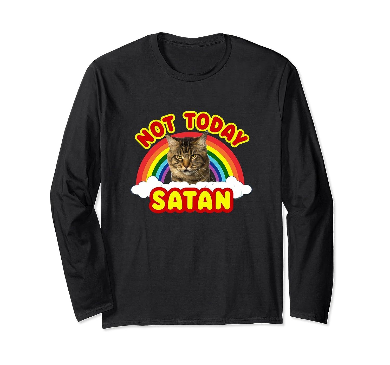 funny satan death metal cat not today long sleeve shirt 4lvs 4loveshirt. Black Bedroom Furniture Sets. Home Design Ideas