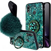 Herbests Compatible avec Huawei P20 Lite Coque,Silicone Paillettes Cristal Strass Diamant360 Degres Protection Ring Stand Housse Support D'anneau Femme Flexible Soft Gel Protective Case,Vert