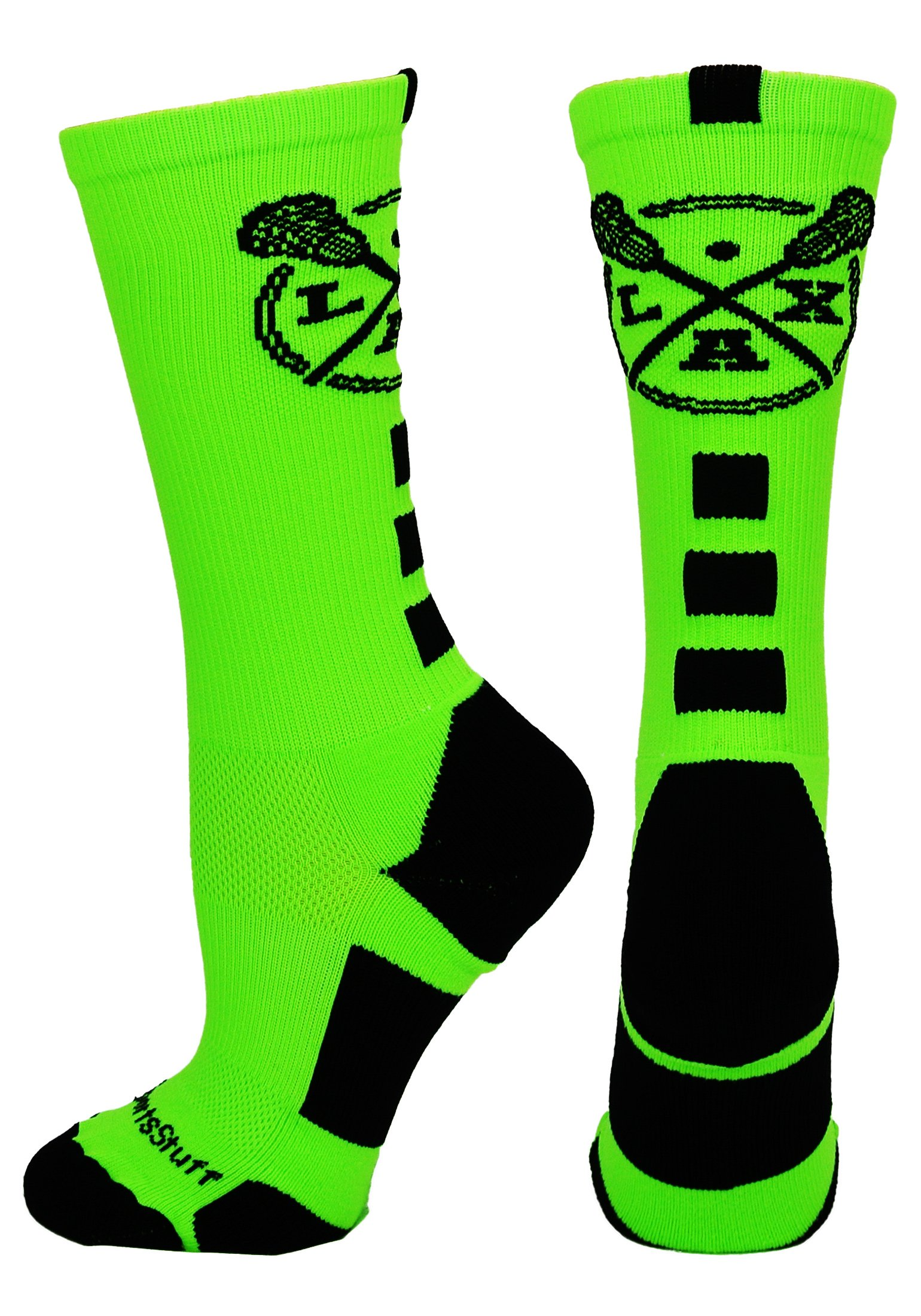MadSportsStuff LAX Lacrosse Socks with Lacrosse Sticks Athletic Crew Socks (Neon Green/Black, Small) by MadSportsStuff