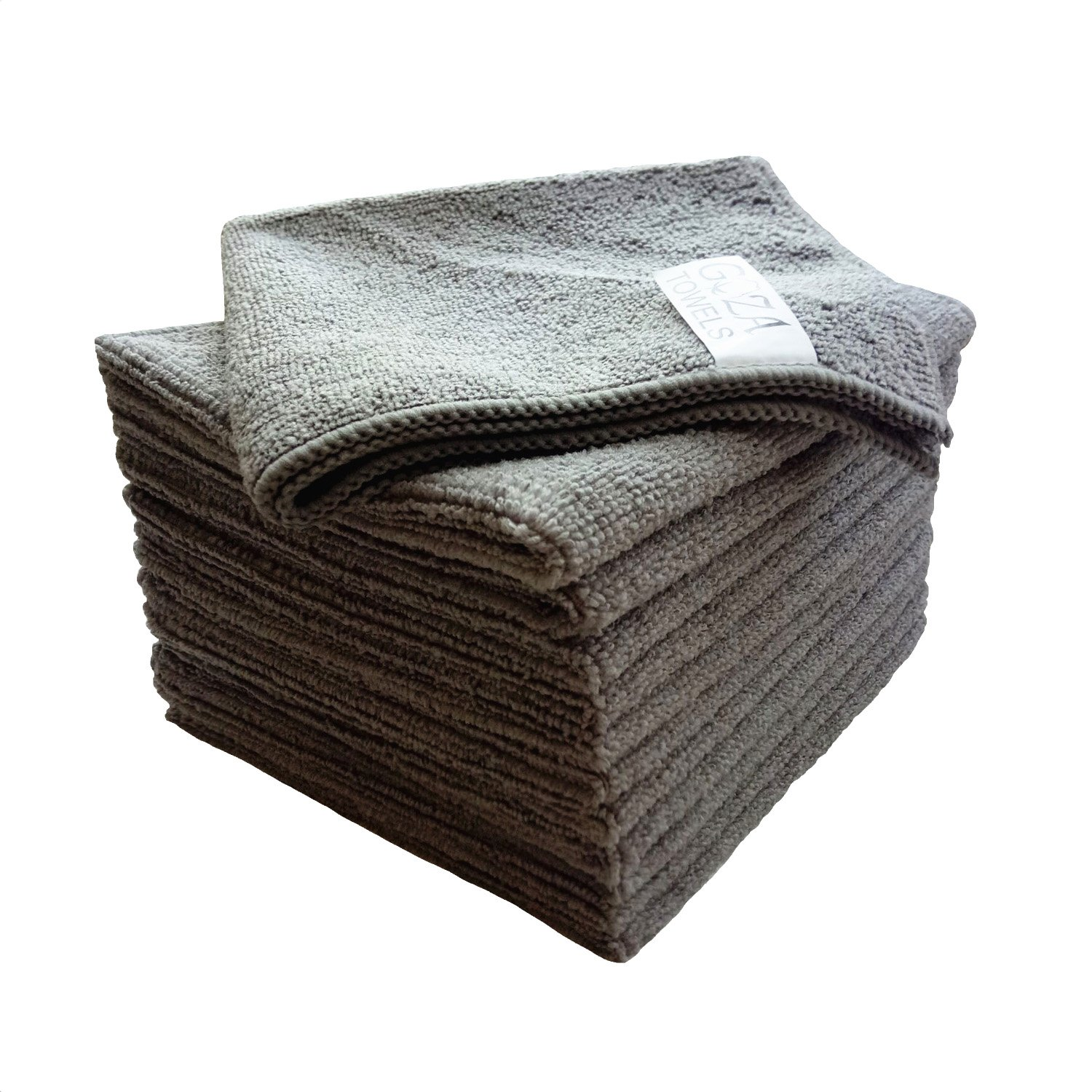 Goza Towels Microfiber Towel Cleaning Cloths Professional Grade All-Purpose 12''x12'' (Grey, 12 Pack)