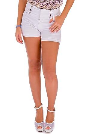 484cb68fe High Waisted Denim Shorts Womens - White Ladies Womens Denim Shorts -  Stretch Plus Size Denim Shorts - Ripped Distressed Boyfriend Denim Shorts -  White, ...