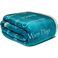 """Compassion Blanket - Strength Courage Super Soft Warm Hugs Get Well Gift Blanket. Plush Healing Support Positive Energy Love & Hope with Soft Fluffy Comfort Cancer Patient- Teal (50""""x 65"""")"""