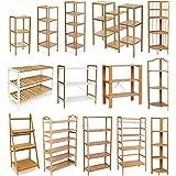 WOLTU RG9250br-a Étagère de bambou réglable en hauteur avec 4 niveaux ,étagère à livres salle de bains étagère cuisine étagère à chaussures,Taille environ 60x29x94cm