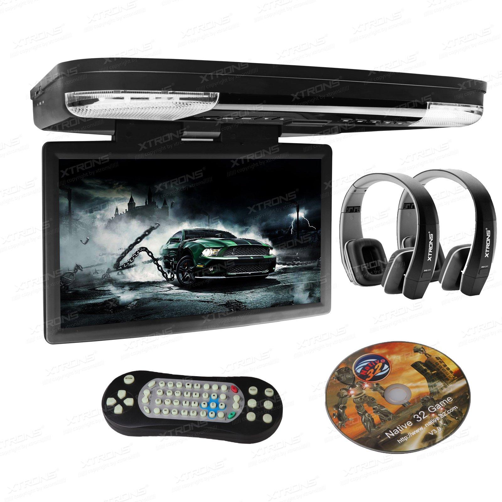 XTRONS 15.6 Inch 1080P Video HD Digital Widescreen Car Overhead Coach Caravan Roof Flip Down DVD Player Game Disc HDMI Port New Version Black IR Headphones Included by XTRONS