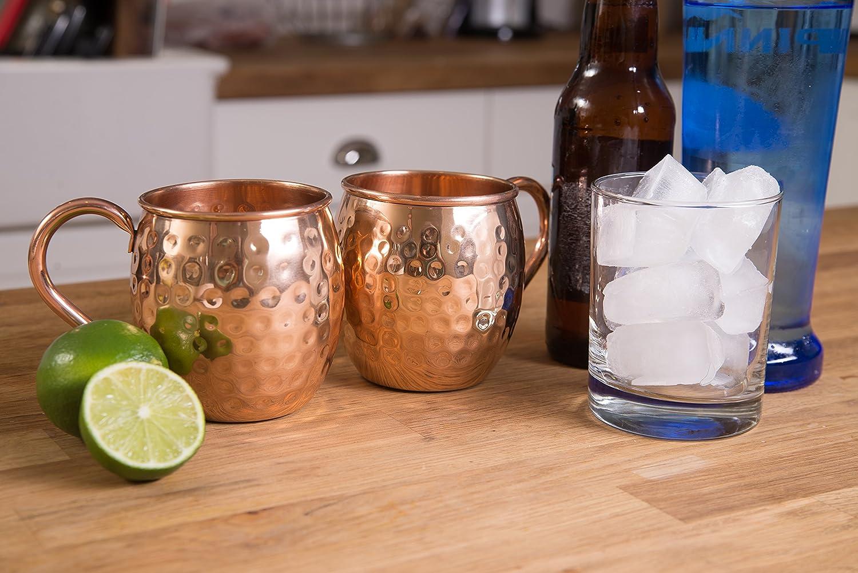 100% sólido de langosta cobre puro Moscow Mule tazas de cobre, Auténtico cobre vasos 16 oz gran barril forma, regalo set de 2 tazas de cobre martillado sin ...