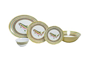 Amazon.com   Galleyware Company Trout 20 Piece Melamine Dinnerware ...
