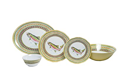 Amazon.com | Galleyware Company Trout 20 Piece Melamine Dinnerware ...