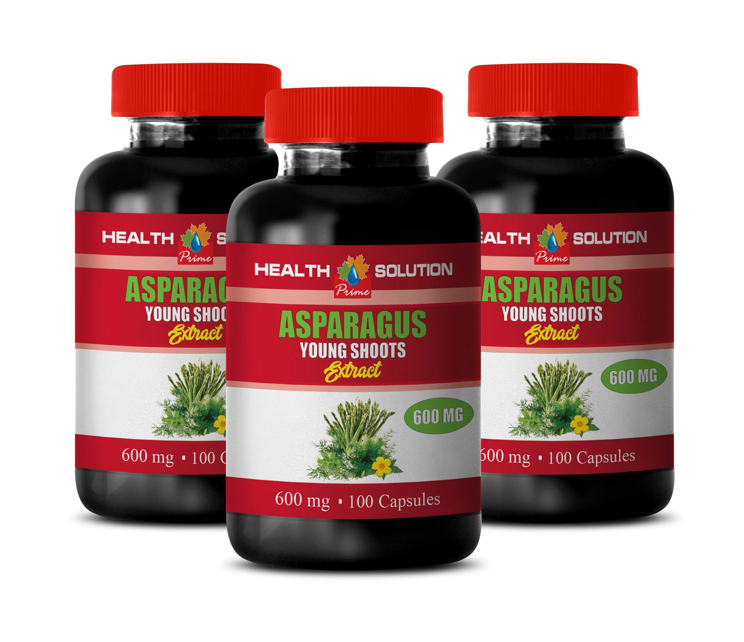Blood Pressure Optimizer Supplement - Asparagus Young Shoots Extract - Digestion aid Pills - 3 Bottles 300 Capsules