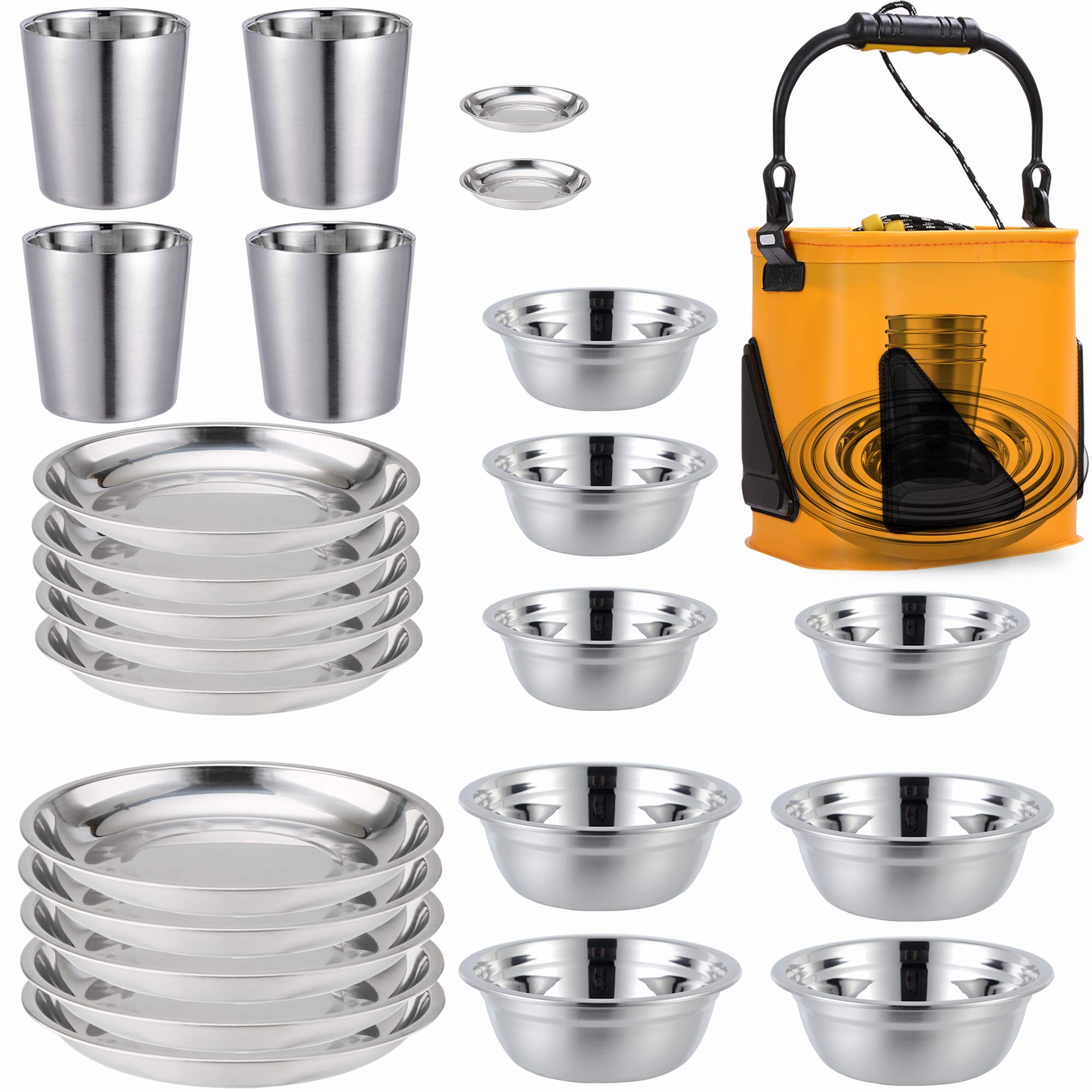 Stainless Steel Plates,Bowls,Cups and Spice Dish. Camping Set (24-Piece Set) 3.5inch to 8.6inch. Camping, Hiking, Beach,Outdoor Use Incl. Collapsible Water Bucket by COTOM