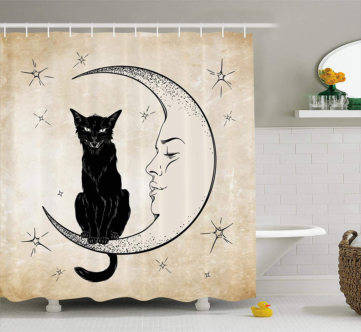 Ambesonne Moon Shower Curtain by, Black Cat Sitting on White Crescent Moon Contrasting Facial Expressions Feline, Fabric Bathroom Decor Set with Hooks, 70 Inches, Sand Brown Black