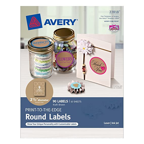 amazoncom avery print to the edge round labels kraft brown 2 12 diameter pack of 90 22818 all purpose labels office products