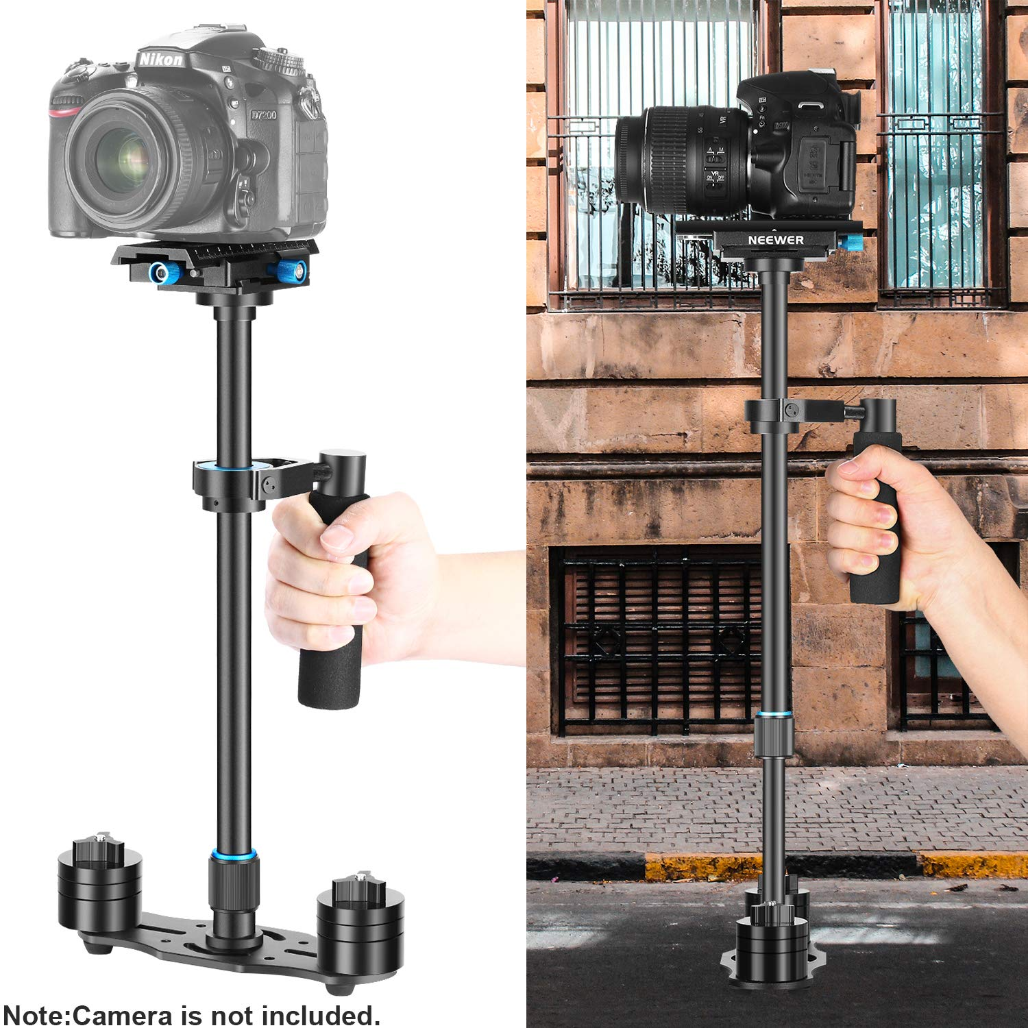 Neewer Aluminium Alloy 24 inches//60 centimeters Handheld Stabilizer with 1//4 3//8 inch Screw Quick Shoe Plate for Canon Nikon Sony Other DSLR Camera Video DV up to 6.6 pounds//3 kilograms Black