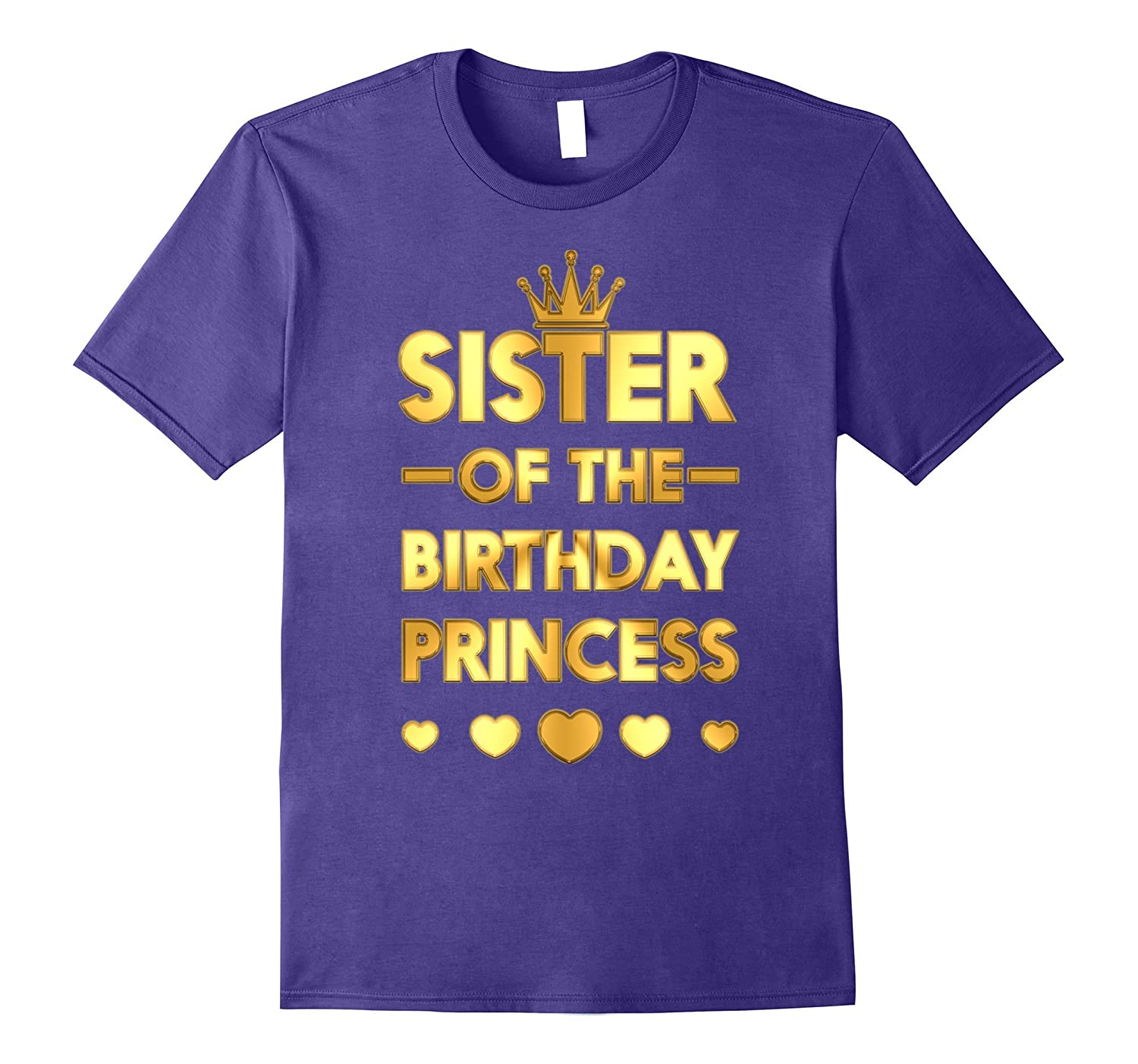 Sister Of The Birthday Princess Gold Matching Family T-shirt-FL