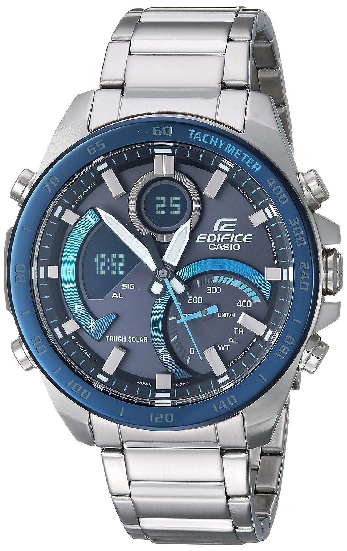 Casio Men s Edifice Quartz Watch with Stainless-Steel Strap, Silver, 21.6 Model ECB-900DB-1BCF