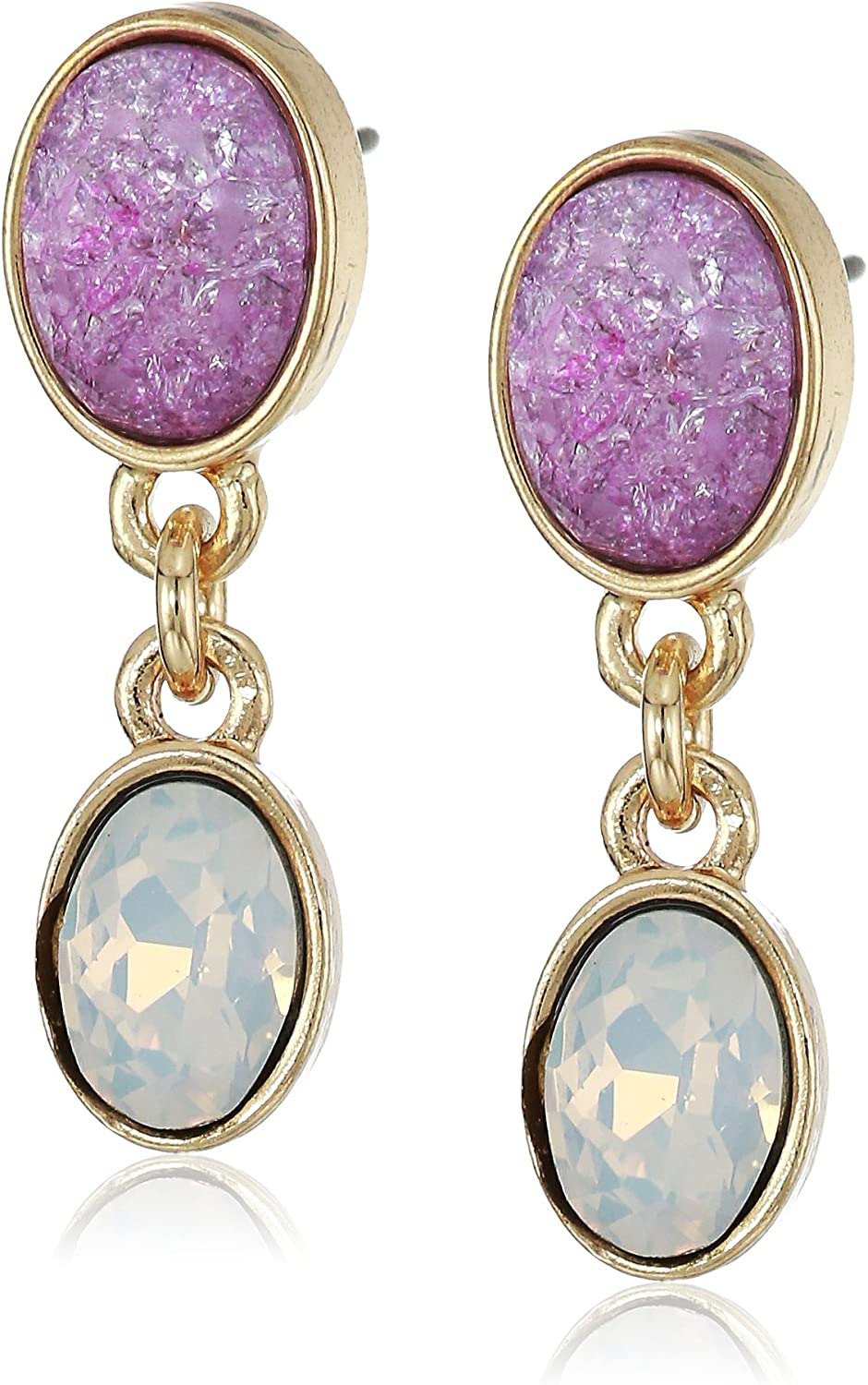 Laundry by Shelli Segal Women's Double Post Drop Earrings, Lilac, One Size