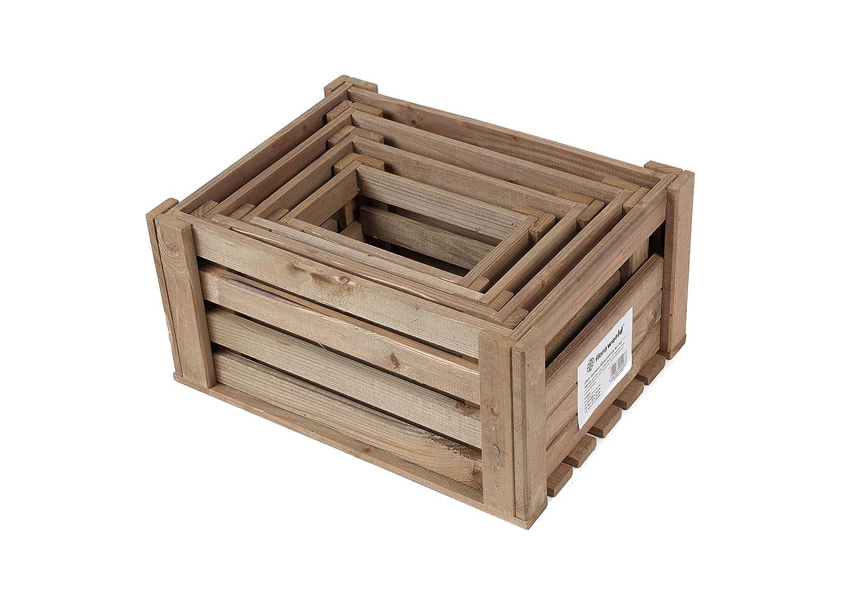 Floraworld 016126 Obst-/Gemüse-Allroundkiste 4er Set Comfort, 58.179 liters, Braun, 41 x 31 x 20 cm