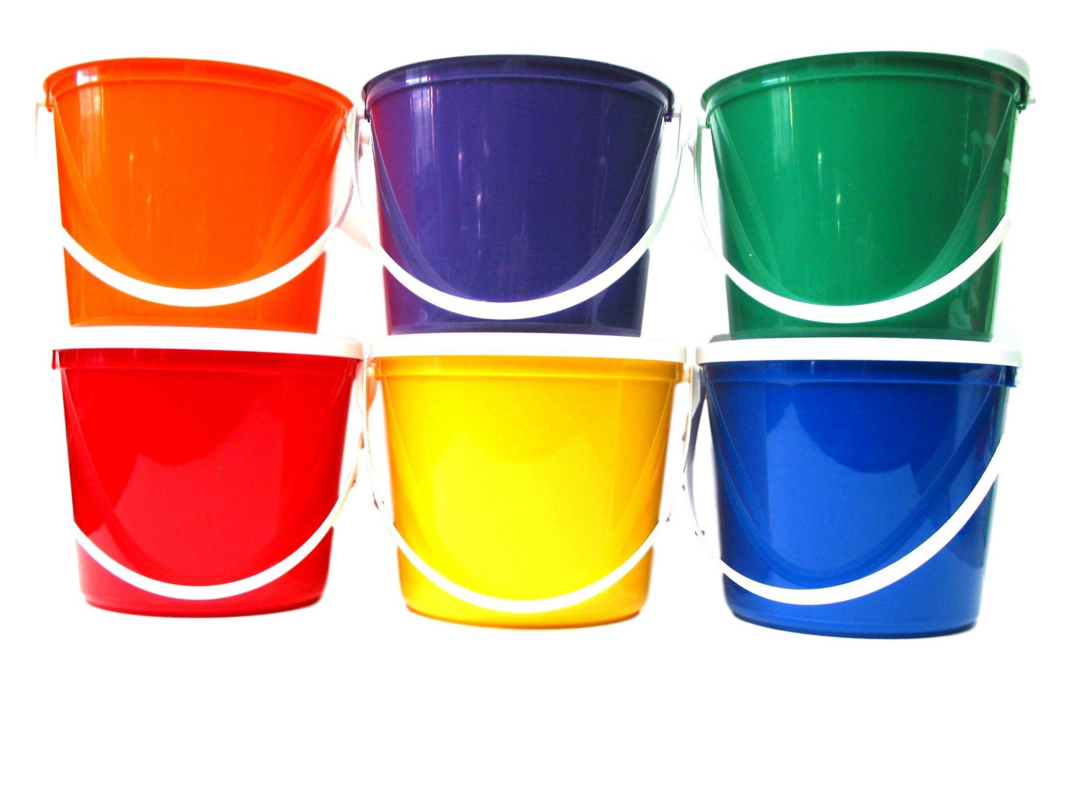 Plastic Buckets & Lids, 80 Ounces, 6 Pack,1 each Red Blue Yellow Orange Purple & Green by Talisman (Image #1)