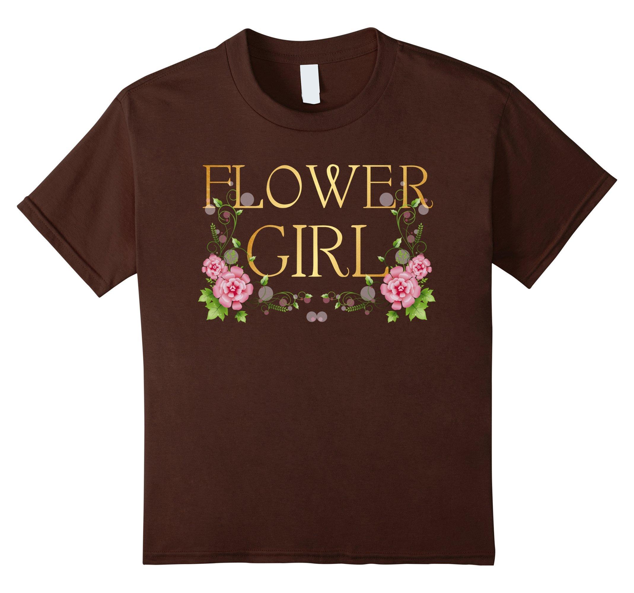 Kids Flower Girl Gold T-Shirt Glitter Printed Bridesmaid Wedding 10 Brown