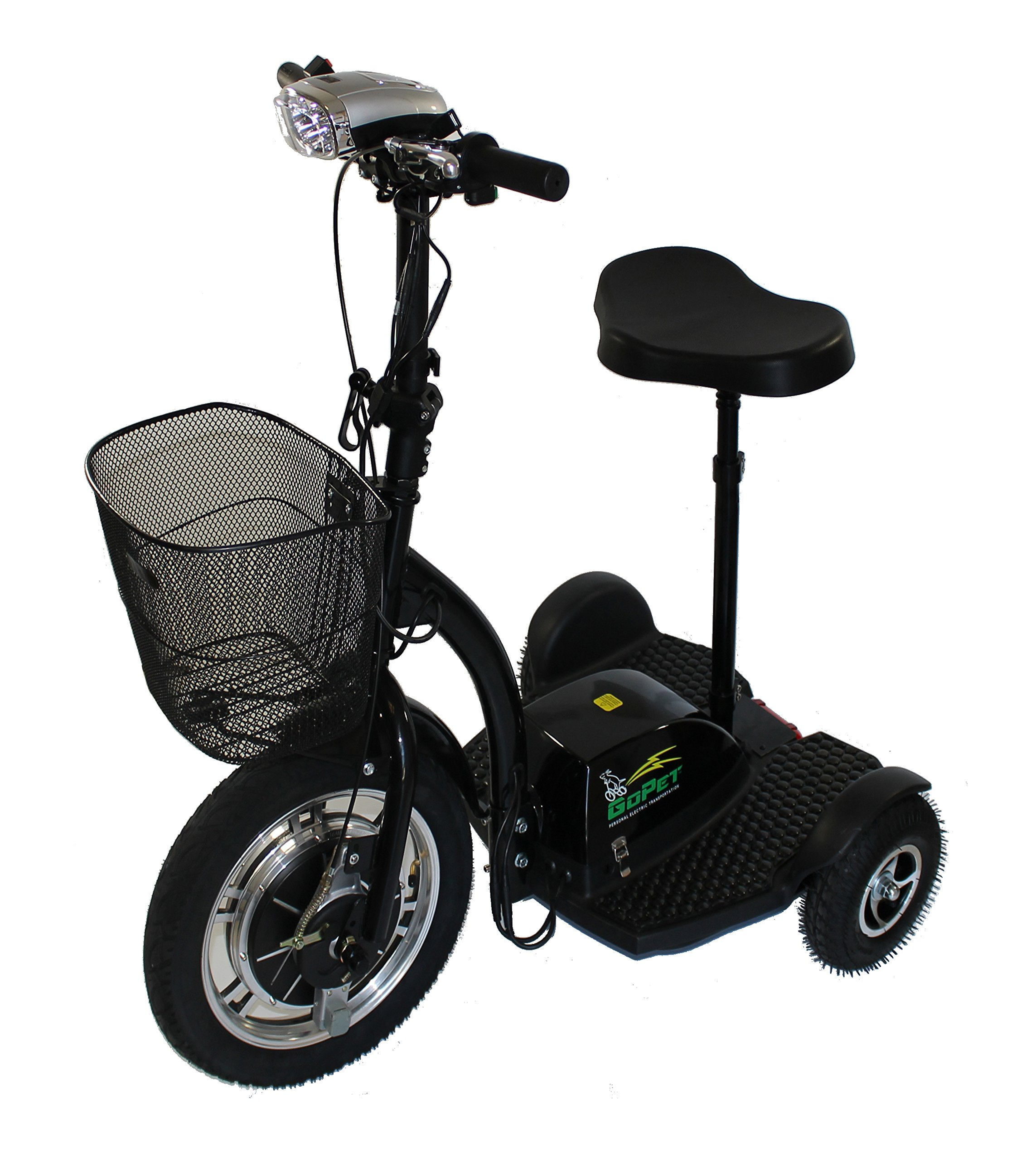 GoPET PET-RL-B Electric Scooter, ADA Compliant, 350W Motor, 48V Lithium Ion Battery, Sealed Dry Cell, Seat and USB Port, 350 lb. Standing Capacity, 400 lb. Towing Capacity, 27'' x 44'' x 47'', Black