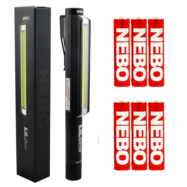 Bundle Nebo LiL Larry Pocket Clip Magnetic LED Work Light with 6 Nebo AAA Batteries Black