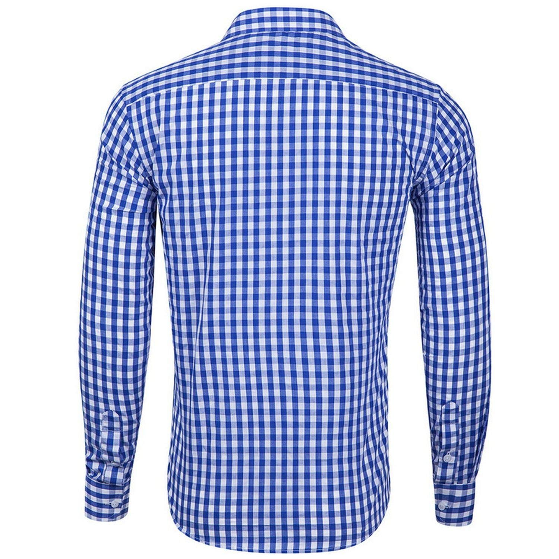 Small Plaid Shirt Men Classic Mens Button Long Sleeve Lapel Shirts Streetwear Men Casual Top Shirts