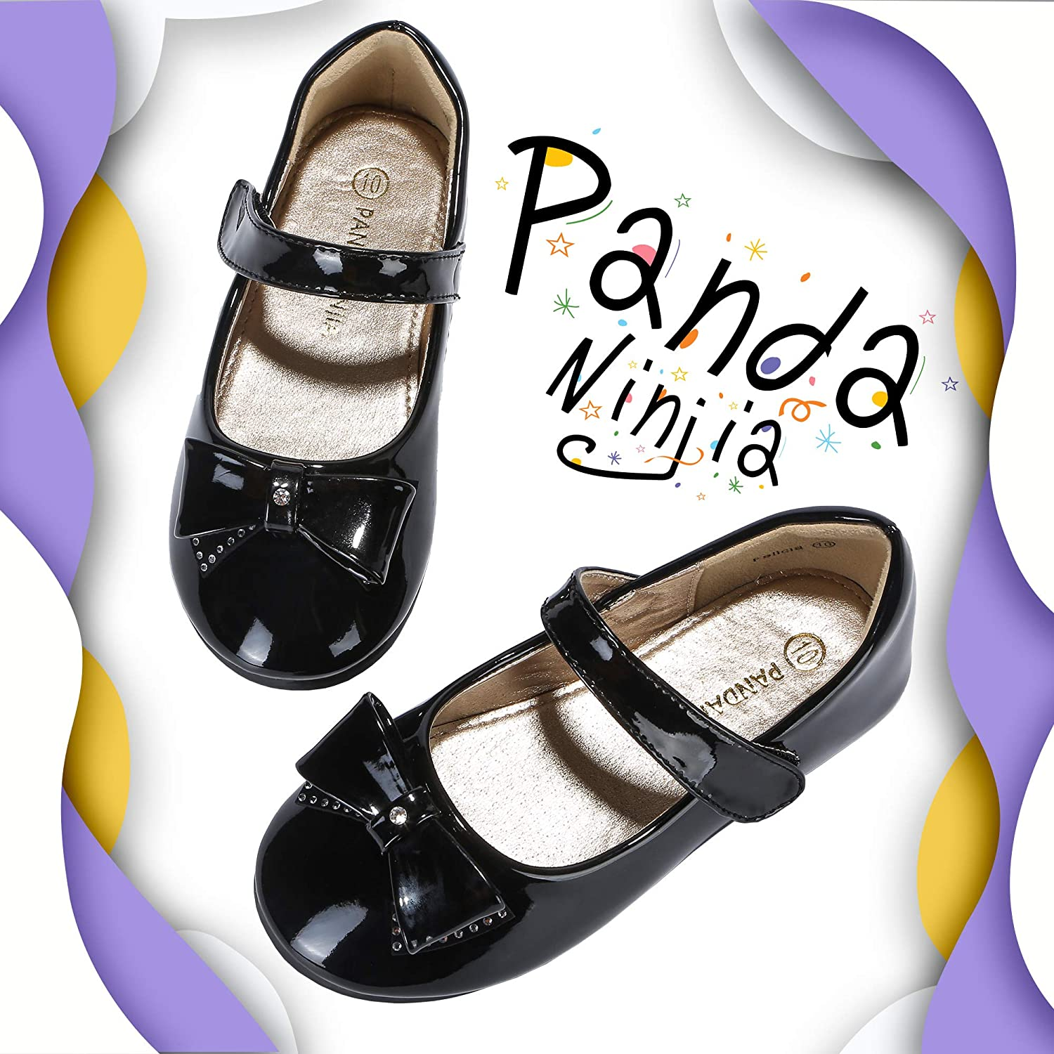 PANDANINJIA Girls Toddler//Little Kid Felicia Flats Dress Shoes Bow Flower Girl Mary Jane Ballet Ballerina Flats Wedding Party School Uniform Shoes Black Patent, 13 M US Little Kid