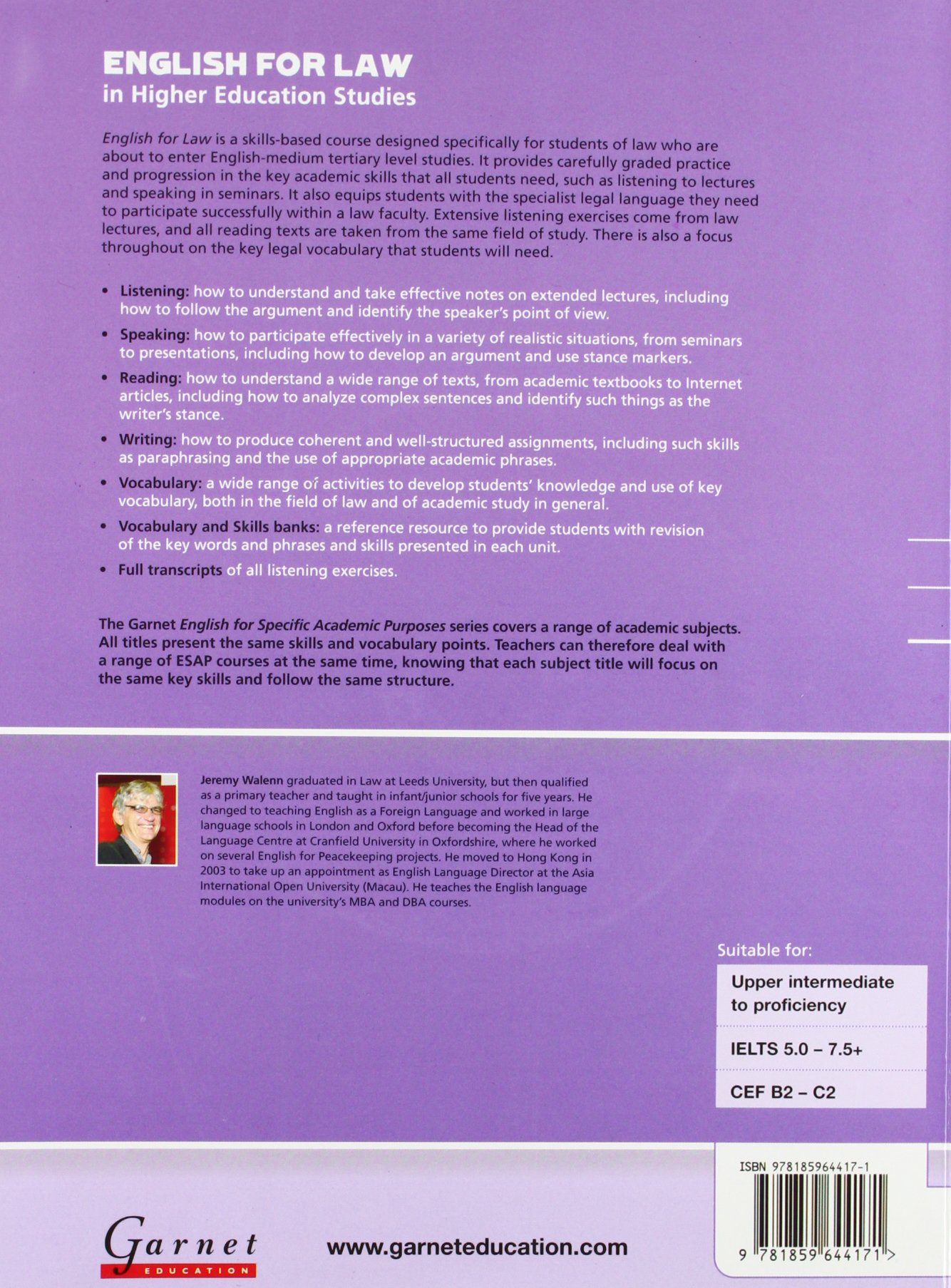 English for Law Course Book + Audio CDs (English for Specific Academic Purposes) by Garnet Education
