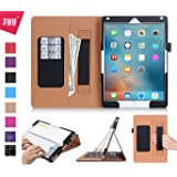 iPad Pro 9.7 Case, iPad Pro 9.7 Cover, Fyy [Super Functional Series] Premium PU Leather Case Stand Cover with Card Slots, Note Holder, Quality Hand Strap and Elastic Strap for Apple iPad Pro 9.7 inch (2016 Edition) Black
