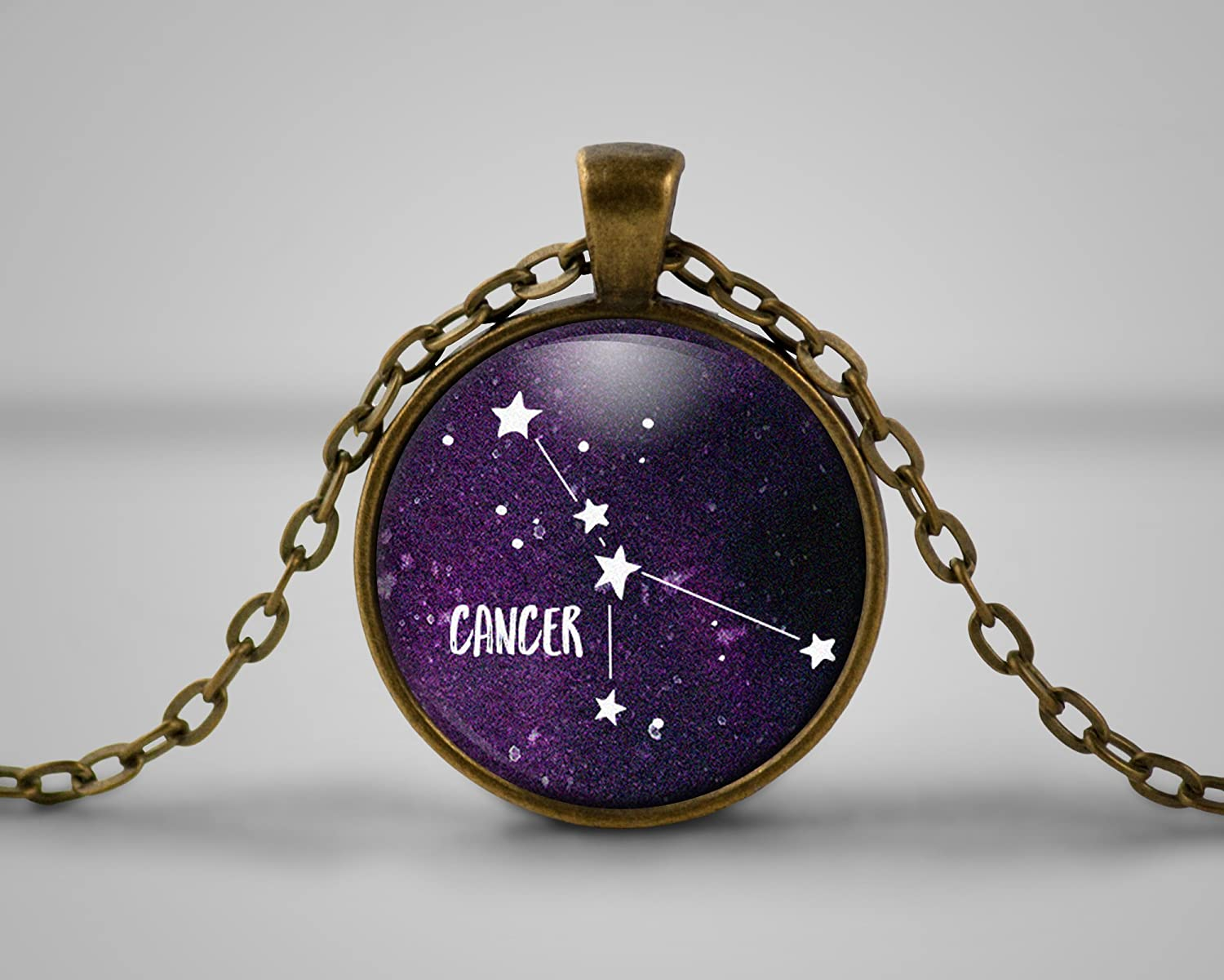 Cancer Star Sign Celestial Quote Cameo Necklace