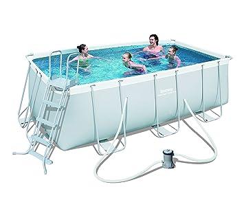 Super Bestway Frame Pool Power Steel Set, hellgrau, 412 x 201 x 122 cm  ED24