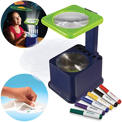 Discovery Kids Art Projector with Six Dry Erase Markers and 10 Reusable Drawing Discs, Draw on Reusable Transparent Sheets, Magnify and Project Art ...