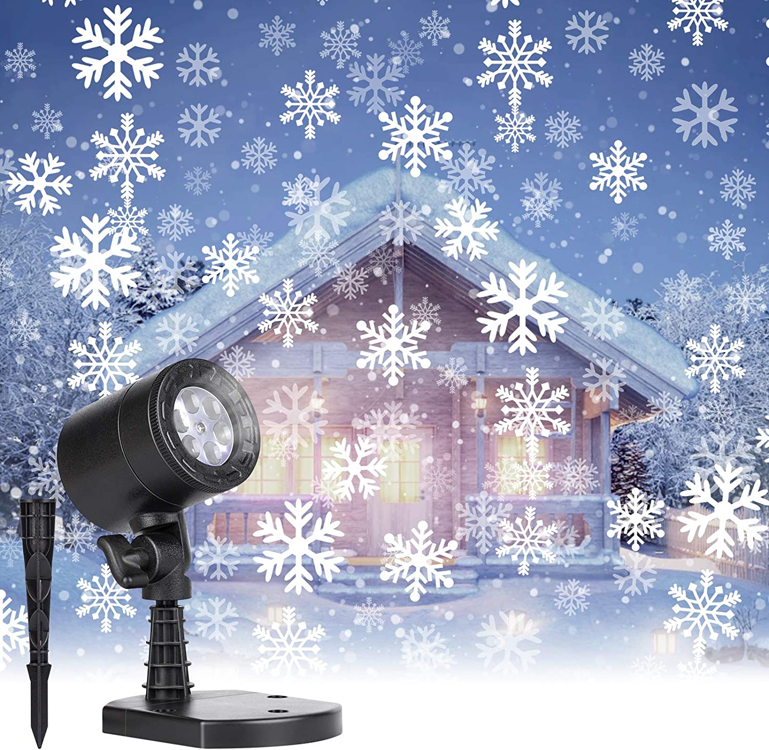 Christmas Projector Lights Outdoor Led Snowflake Projector Lights Waterproof Plug in Moving Effect Wall Mountable for Halloween Christmas Holiday New Year Indoor Home Party Decoration Show