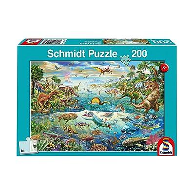 Schmidt Spiele Puzzle 56253 descubre los Dinosaurios, niño Rompecabezas, 200 Piezas: Juguetes y juegos