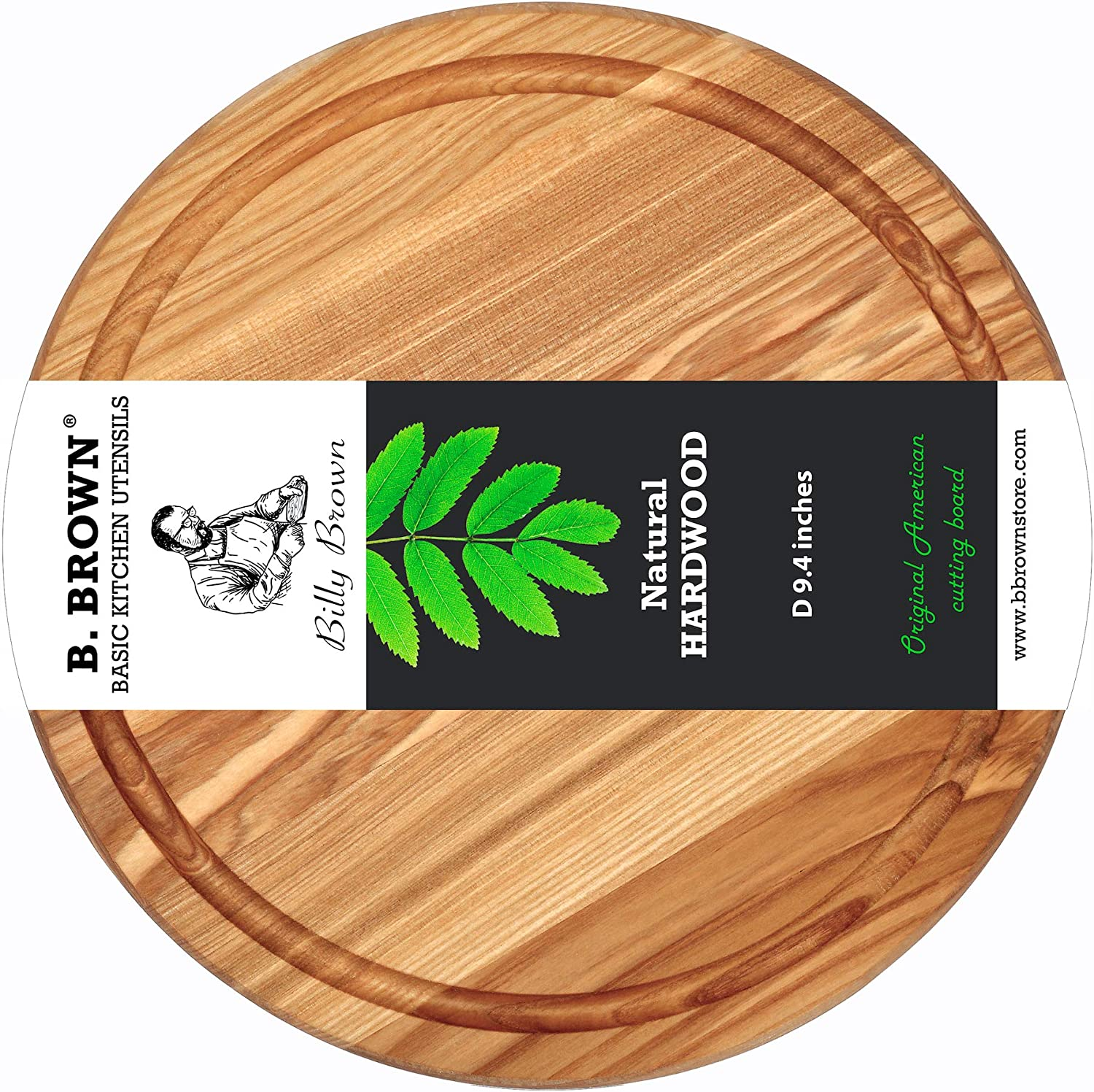 Wood Cutting Board 9.4 inches by B.Brown Small Round Cutting Board Great for Serving Tray and Chopping Board Great for Gift