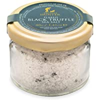 TruffleHunter Flaked Black Truffle Sea Salt 70g (2.47 Oz) - Cornish Seasalt & European Black Summer Truffles (Tuber Aestivum) - Vegan, Vegetarian, No MSG, Non-GMO, Gluten Free, Nut Free