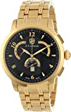 S.Coifman Men's Quartz Watch with Black Dial Chronograph Display and Gold Stainless Steel Plated Bracelet SC0238