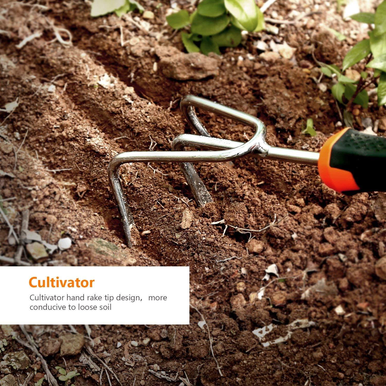 Outils de Jardinage d/ésherbeur Tacklife Kit doutils de Jardin 3 pi/èces en Acier Inoxydable avec truelle desserrer la Terre d/ésherber cultivateur pour Creuser