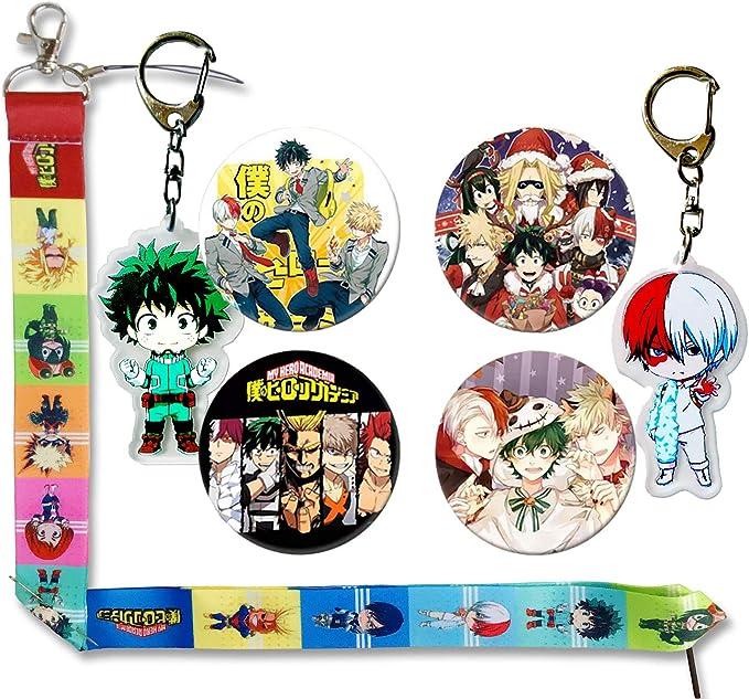 2Pcs Keychains 1Pack Drawstring Bag Backpack 4Pcs Anime Pins 1Pcs Necklace Lanyard for Anime MHA Fans NANAFANS My Hero Academia Gift Sets Including 73Pcs Cartoon Stickers