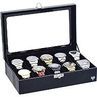 Porta-Relógios Total Luxo Couro Ecológico Preto Preto 10 Divisórias